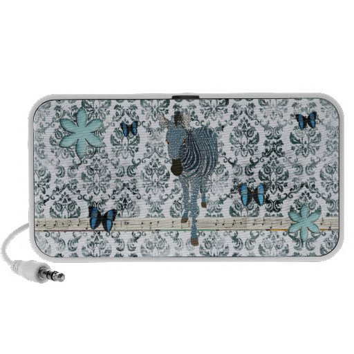 Boho Blue Zebra & Butterflies  Music Doodle Speake Mini Speaker