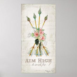 Boho Bohemian Aim High Arrows Feathers Rustic Wood Poster