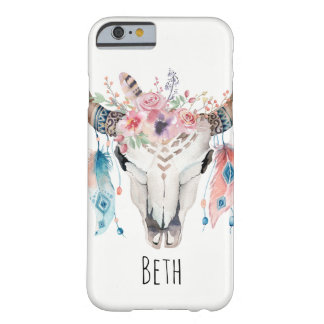Boho Bohemian Cow Skull & Feathers Invitation Barely There iPhone 6 Case