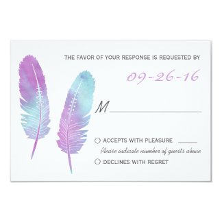 Boho Bohemian Feather Purple and Blue Wedding RSVP 3.5x5 Paper Invitation Card