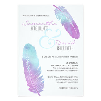 Boho Bohemian Feather Wedding Purple and Blue 5x7 Paper Invitation Card