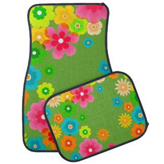 Boho Bohemian Retro Colorful Floral Flowers Car Carpet