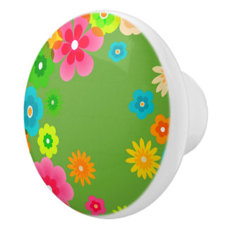 Boho Bohemian Retro Colorful Floral Flowers Ceramic Knob