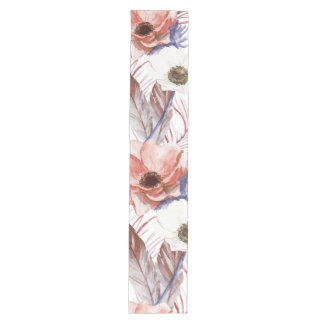 Boho Bohemian Retro Peacock Pattern Medium Table Runner