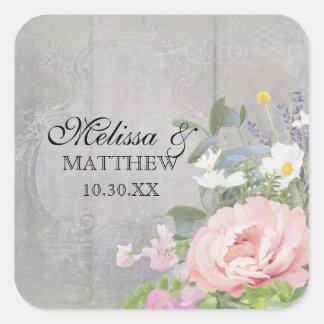 BOHO Bohemian Rustic Floral Pink Peony Eucalyptus Square Sticker