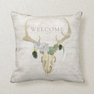 BOHO Bohemian Western Deer Antler Skull Feathers Throw Pillow