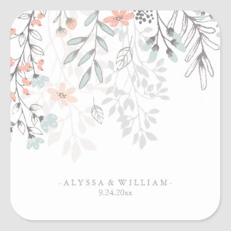 Boho Botanical Rustic Wedding in Coral and Gray Square Sticker