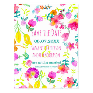 Boho bouquet floral watercolor save the date postcard