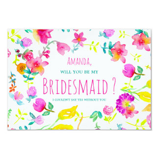 Boho bouquet floral watercolor wreath bridesmaid card