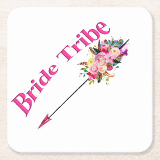Boho Bride Tribe Square Paper Coaster