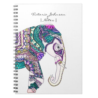 Boho bright watercolor tribal henna elephant spiral notebook