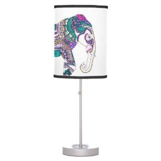Boho bright watercolor tribal henna elephant table lamp