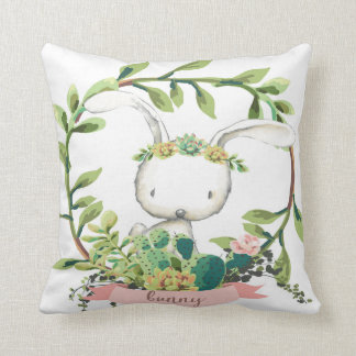 Boho Bunny Cactus Succulent Baby Nursery Pillow