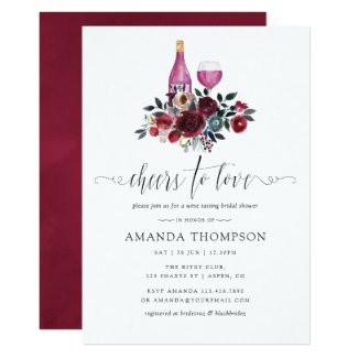 Boho Burgundy and Navy Bridal Shower Wine Tasting Card