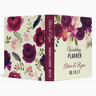 Boho burgundy beige watercolor wedding 3 ring binder