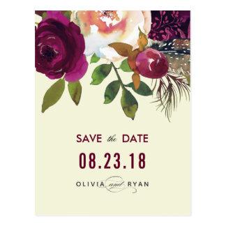 Boho burgundy beige watercolor wedding postcard