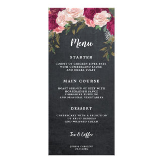 boho burgundy floral chalk wedding menu cards