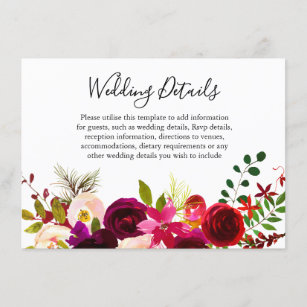 Boho Burgundy Flowers Spring Fall Wedding Details Enclosure Card