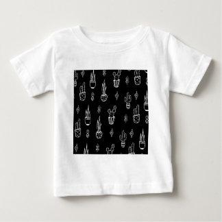 Boho Cactus Black and White Hand Drawn Baby T-Shirt