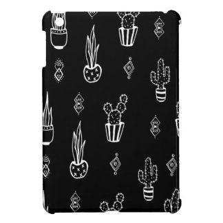 Boho Cactus Black and White Hand Drawn Cover For The iPad Mini