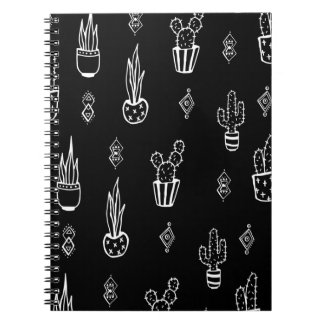 Boho Cactus Black and White Hand Drawn Notebook