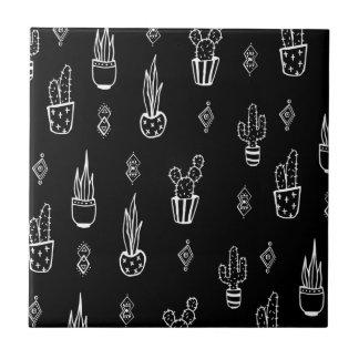 Boho Cactus Black and White Hand Drawn Tile