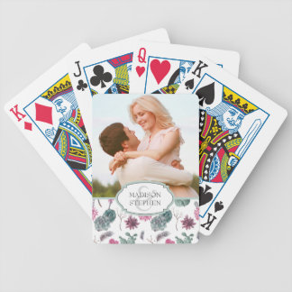 Boho Cactus, Succulent & Floral - Wedding Photo Bicycle Playing Cards
