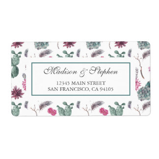 Boho Cactus, Succulent & Floral -  Wedding Shipping Label
