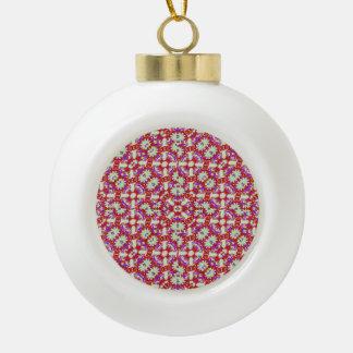 Boho Check Ceramic Ball Ornament