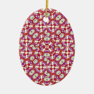 Boho Check Ceramic Oval Ornament