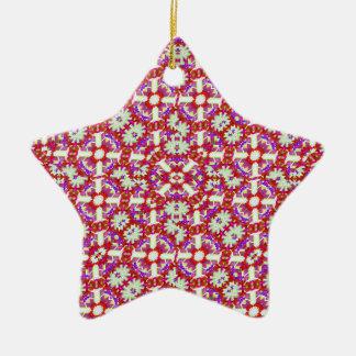 Boho Check Ceramic Star Ornament