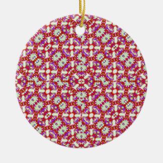 Boho Check Round Ceramic Ornament