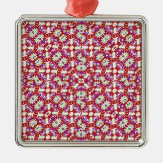 Boho Check Silver-Colored Square Ornament