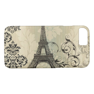 Boho Chic beige Damask Paris Eiffel Tower iPhone 8/7 Case
