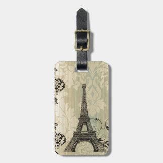 Boho Chic beige Damask Paris Eiffel Tower Luggage Tag
