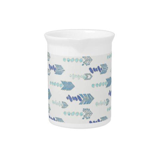 boho chic blue arrows native pattern beverage pitcher
