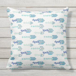 boho chic blue arrows native pattern outdoor pillow