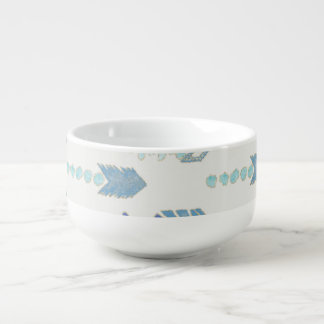 boho chic blue arrows native pattern soup mug
