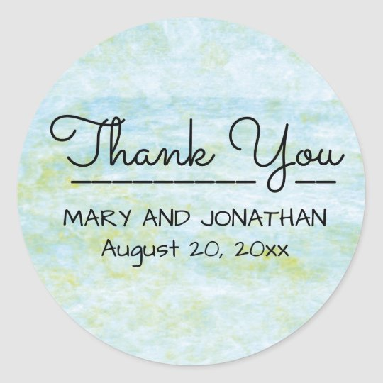 Boho Chic Blue Green Watercolor Thank You Wedding Classic Round Sticker