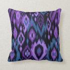Boho Chic blue purple black Ikat Tribal Tapestry Throw Pillow
