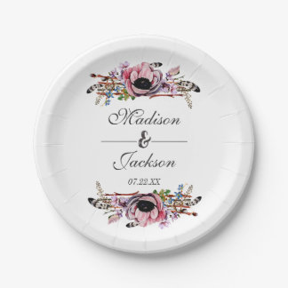 Boho Chic Blush Pink Floral Wedding Monogram Paper Plate