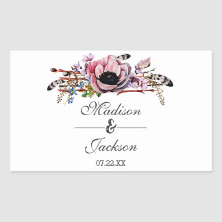 Boho Chic Blush Pink Floral Wedding Monogram Sticker