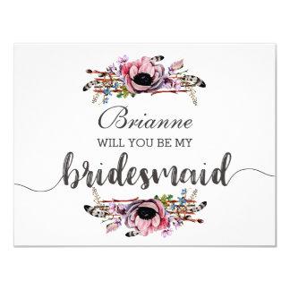 Boho Chic Blush Pink Will You Be My Bridesmaid Card
