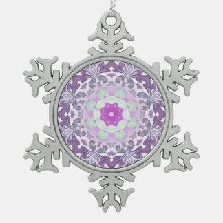 Boho chic Bohemian lilac purple mandala Snowflake Pewter Christmas Ornament