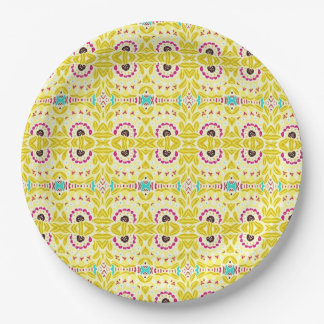 Boho Chic Bohemian Tribal Floral Chartreuse Green Paper Plate