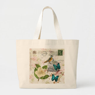 boho chic butterfly botanical birdcage french bird large tote bag