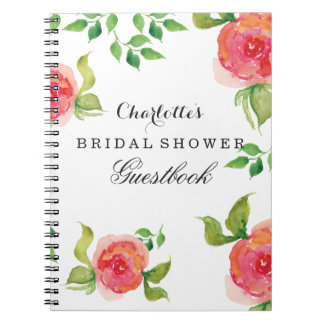 boho chic Coral bridal shower Guestbook Spiral Notebook