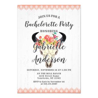 Boho Chic Cow Skull Bachelorette Party Invitation