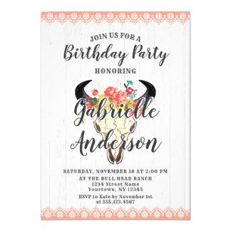 Boho Chic Cow Skull Birthday Party Invitation