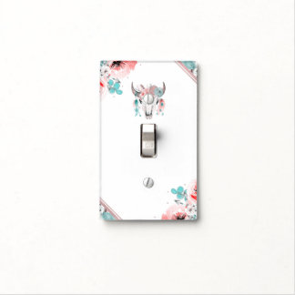Boho Chic Cow Skull Floral Bohemian Glam Light Switch Cover